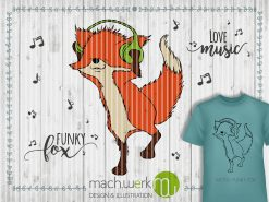 Plotterdatei Funky Fox mit Text Funky Fox und Love music