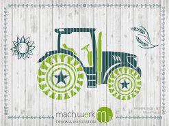 Traktor auf dem Farmfreunde-Set, Bulldog, Trecker